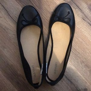 Black flats with bow